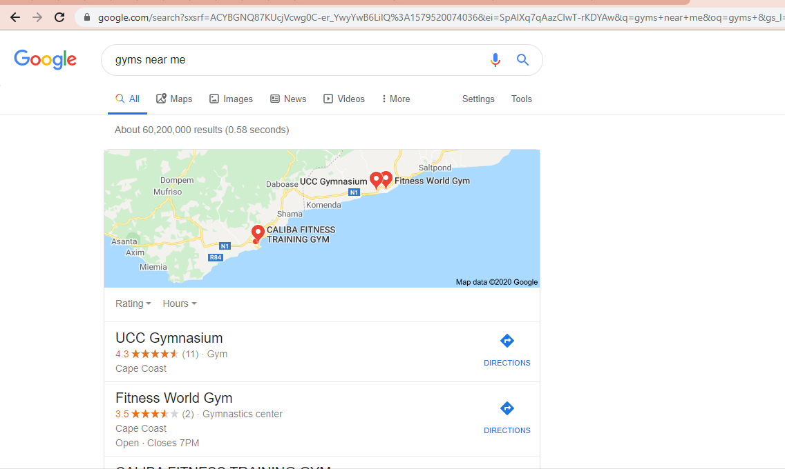 Google my listing for the search term gyms near me for local SEO in fitness marketing in Ghana